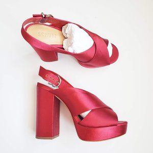 NIB Schutz Millie Heeled Sandal Scarlet Satin 8.5